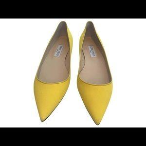 JIMMY CHOO Yellow Woven Flat - size 36.5 NWT
